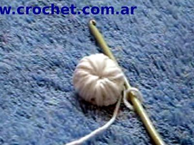Como tejer un botón en tejido crochet tutorial paso a paso.