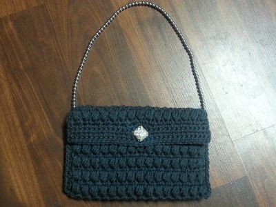 Crochet Bag -Crochet Puffy stitch Crochet clutch bag purse TUTORIAL