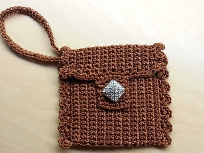#Crochet Cute Wrist #Wallet Coin #Purse #tutorial Nylon Thread!