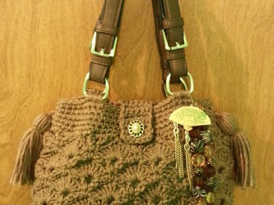 #Crochet Fan and V Stitch Handbag Purse with Liner #TUTORIAL