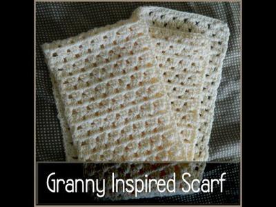 Crochet Granny Square Inspired Scarf - Beginner Level