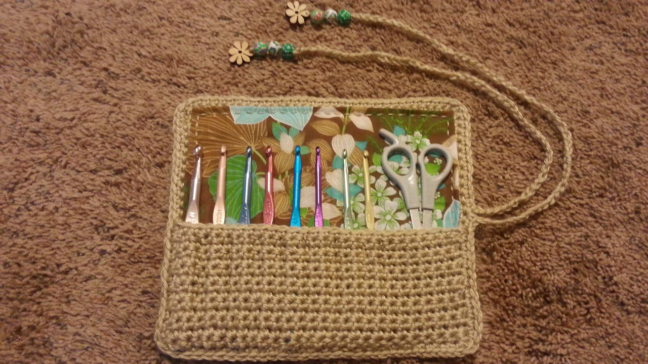 #Crochet Roll Up Hook Needle Holder with Liner #TUTORIAL Crochet Hook Carrier
