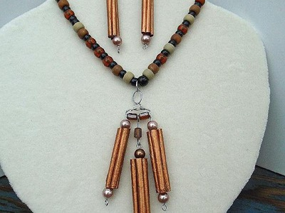 DIY, COPPER BEADS NECKLACE AND EARRINGS, paper jewelry, JEWELRY MAKING