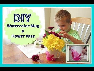 DIY Craft: Watercolor Mug.Flower Vase | Teacher Present