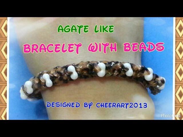 Diy loom bands agate like bracelet with beads rainbow loom tutorial彩虹橡筋手繩教學