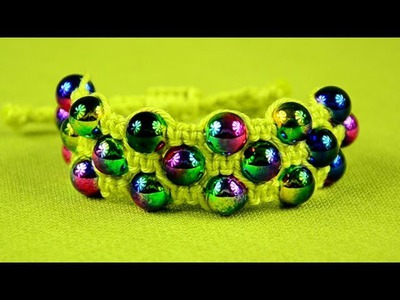 DIY Triple Shamballa - 3 Row Bracelet with Beads