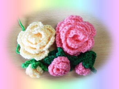 かぎ編みのバラ 1-1 ;How to crochet rose flower
