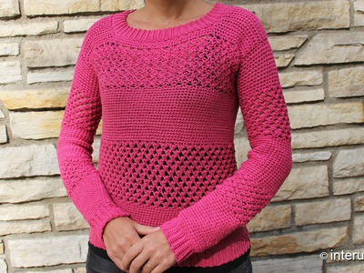 How to crochet a sweater - raspberry stich stripes