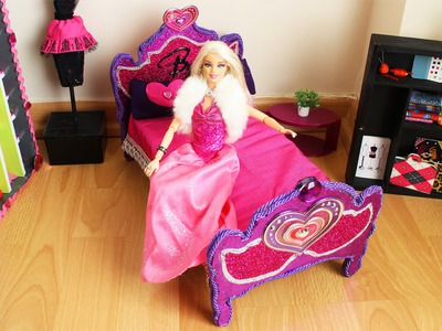 How to make a BARBIE DOLL BED - Tutorial- Doll Crafts