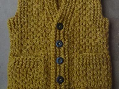 Жилет с карманами  Часть 3  Левая полочка. Vest knitting part 3