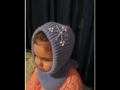 КАПОР ДЛЯ ДЕВОЧКИ! ВЯЗАНИЕ СПИЦАМИ!Вязание для начинающих. Дочка в тепле! Knitting.
