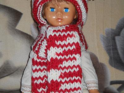 Комплект Красно-белый - вязание шарфа спицами - Scarf knitting