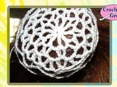 Lace Snood Crochet Hair Accessory - Thread Bun Cover Crochet Geek