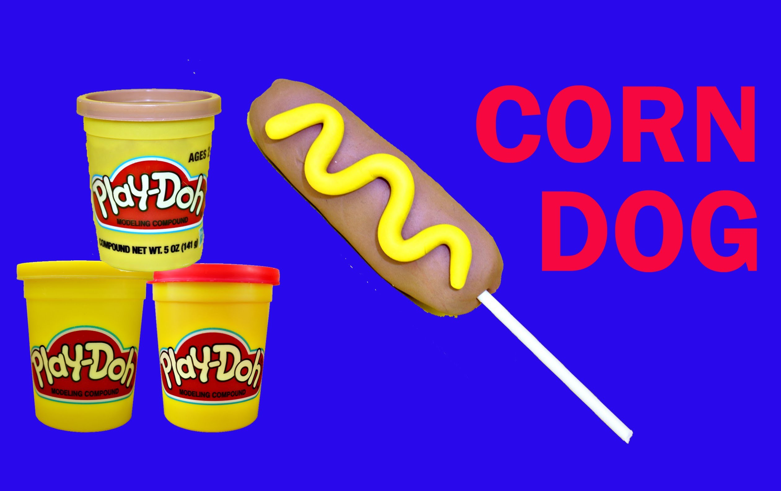 Play Doh Corn Dog Play Dough Hot Dog on a Stick Clay Food Tutorial DIY