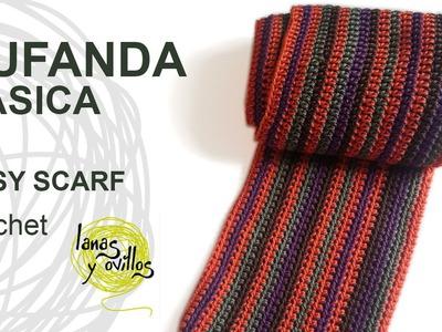 Tutorial Bufanda Fácil Crochet o Ganchillo (Nivel Principiante)