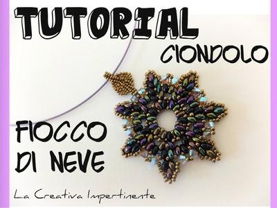 "Tutorial Twin Beads - Ciondolo ""Fiocco di neve"" - DIY twins pendant snowflake"