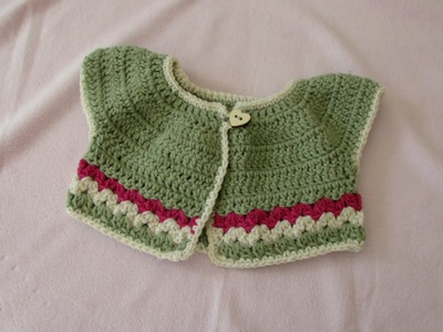 VERY EASY crochet baby. girl's summer bolero tutorial - crochet cardigan (part 1)