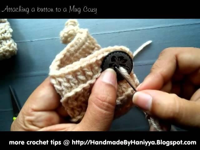Vol 20 - How to attach a button to a crochet mug cozy