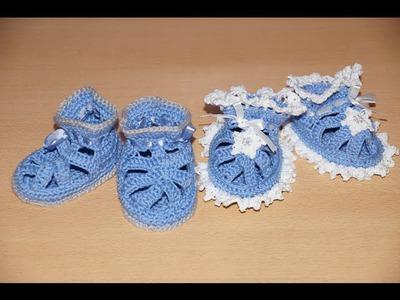 Вязание пинеток крючком  - шаг 1 .   Crochet knitting bootees - Step 1 - knitting soles