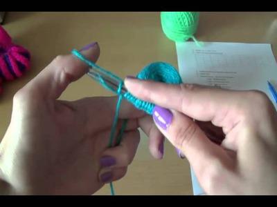 Вязание пинеток спицами Шаг 1.  Knitting bootees spokes Step 1