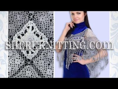 Crochet Shawl Square Motif Lacy Wrap Model 9