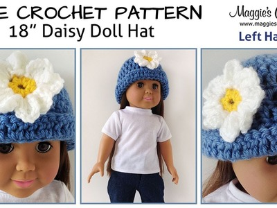 """Daisy Hat for an 18"""" Doll Free Crochet Pattern - Left Handed"""