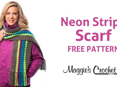 Deborah Norville Every Day Soft Yarn Neon Stripe Scarf Free Crochet Pattern - Right Handed