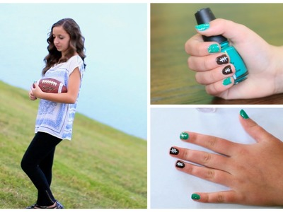 DIY American Football Nails | Nail Art Tutorial | Brooklyn and Bailey