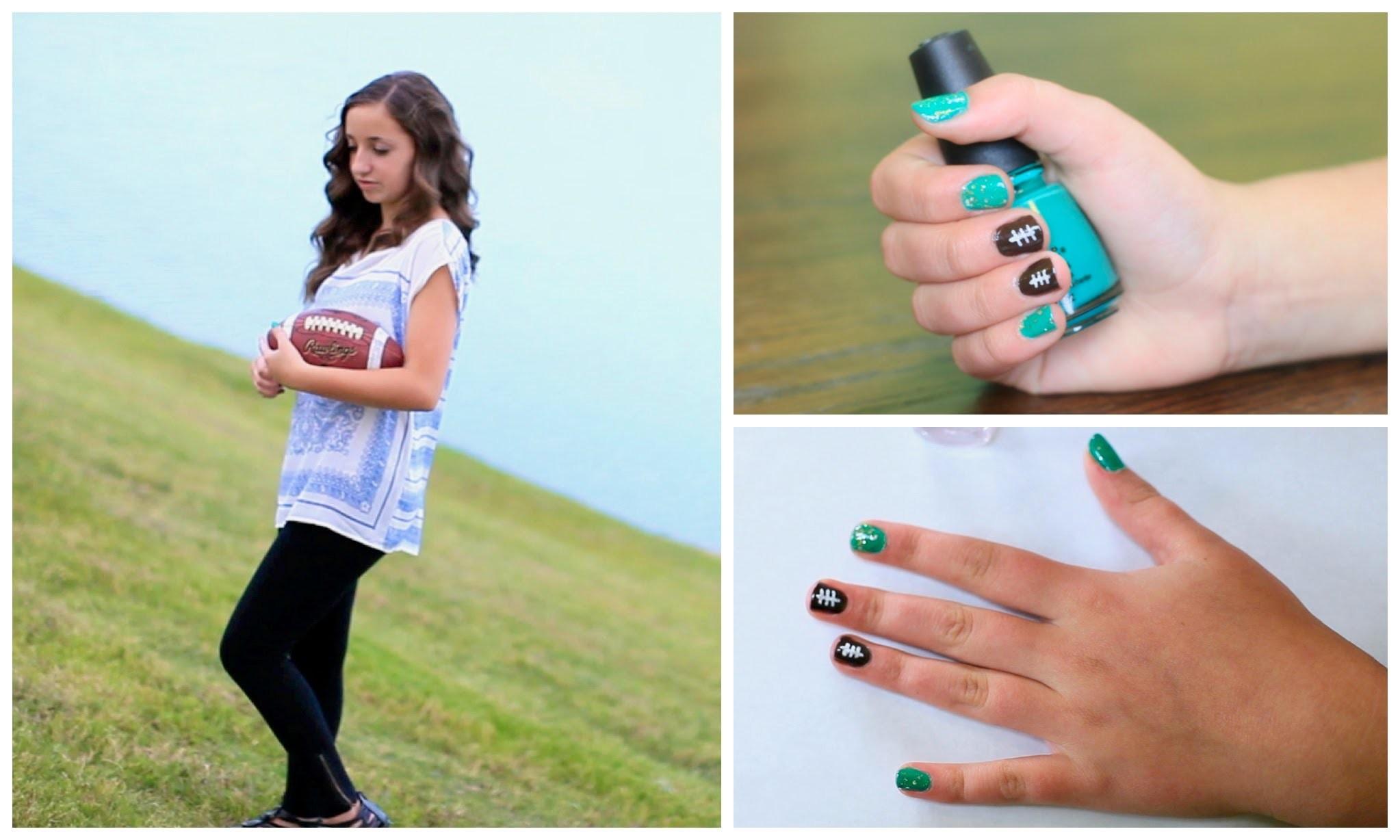 DIY American Football Nails | Nail Art Tutorial | Brooklyn and Bailey