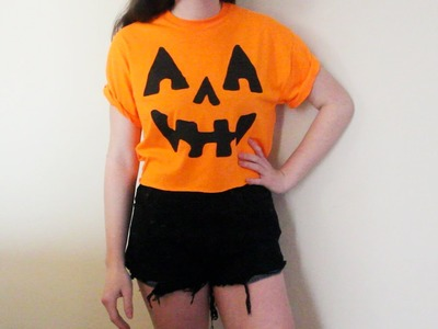DIY Halloween Costume Jack-O'-Lantern Pumpkin Crop Top