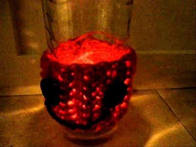 Halloween luminary, pumpkin, how to crochet, votive cover, lamp, candle, light,