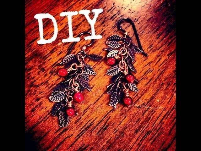 Holiday Berry Copper Leaf Chain Earrings DIY December Day 7