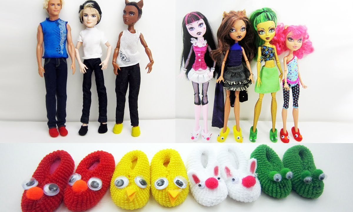 How to make doll Monster High. Barbie slippers - Really works - Doll Crafts