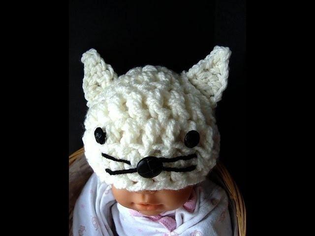 KITTY KAT HAT, costume, cat, feline, baby hat, how to crochet a kitty hat