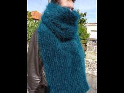 Longhair Mohair Scarf hand knittings , fuzzy,  emerald green,  Man,  Women by LanaKnittings