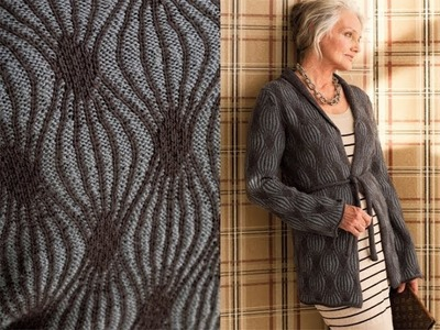 #21 Two-Color Rib Cardi, Vogue Knitting Winter 2010.11