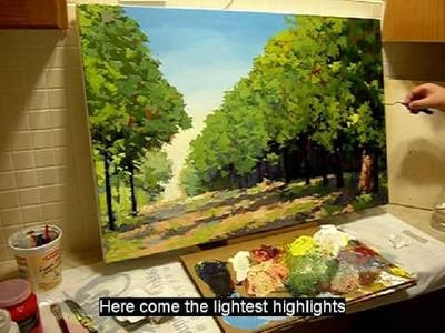 Contemporary canadian painter Maxim Grunin painting a landscape start to finish