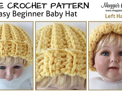 Easy Beginner Baby Hat Free Crochet Pattern - Left Handed