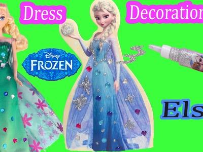 Queen Elsa Wooden Doll Glitter & Jewel Dress Decoration Craft Playset Frozen Fever Dressup Unboxing