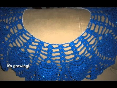 Shimmering Blue Capelet w Gold Beads and Forget Me Not Flowers Medium