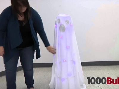 DIY Halloween Lawn Ghost - Made with Christmas Lights