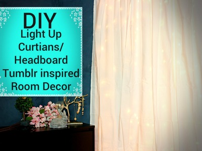 DIY Light up Curtains.Headboard - Affordable Tumblr Inspired Room Decor