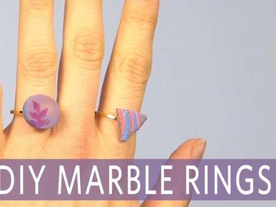 DIY Marble Clay Rings