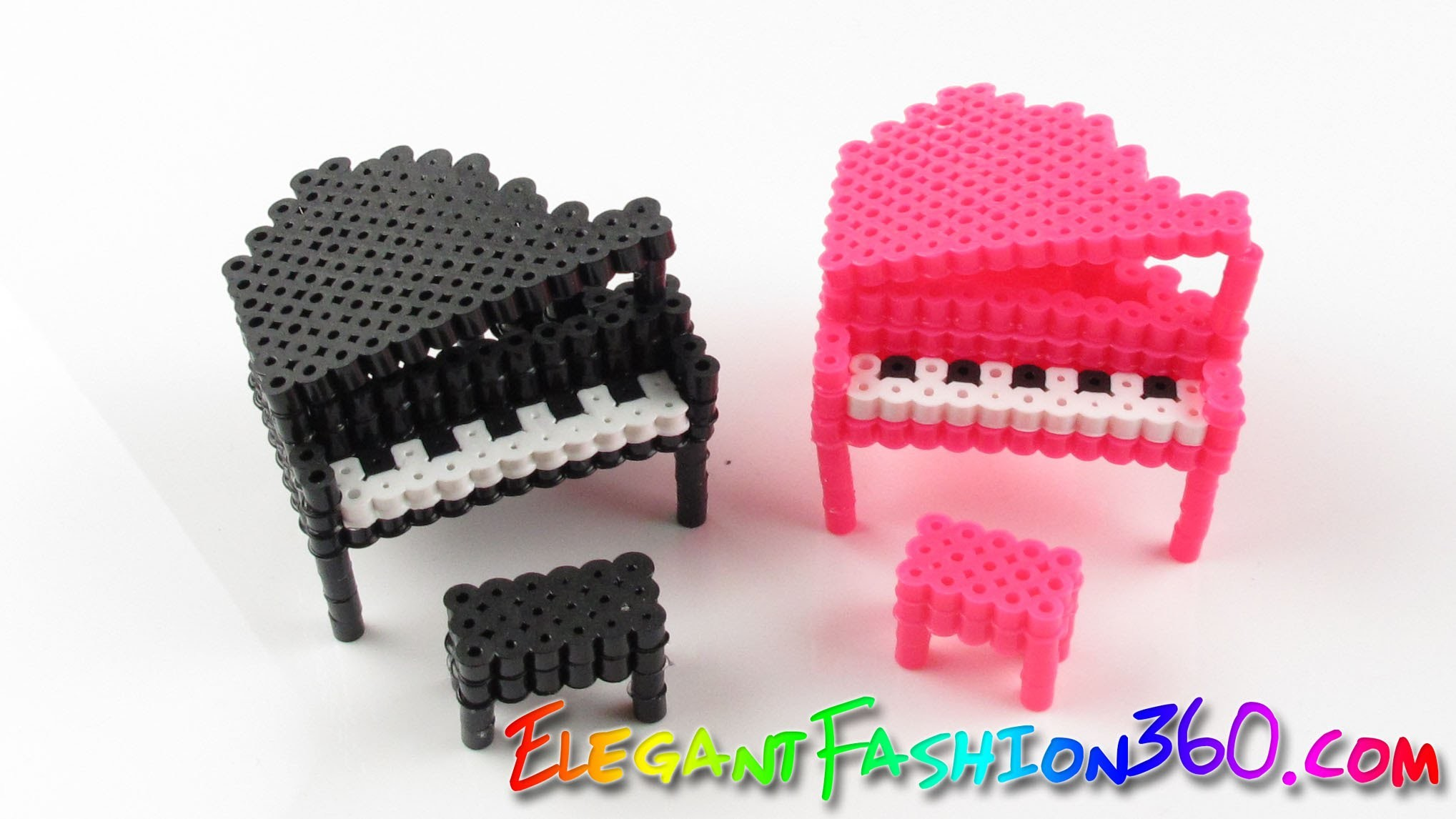 DIY Perler Beads.Hama Beads 3D Piano - How to Tutorial.Perfect for Doll House