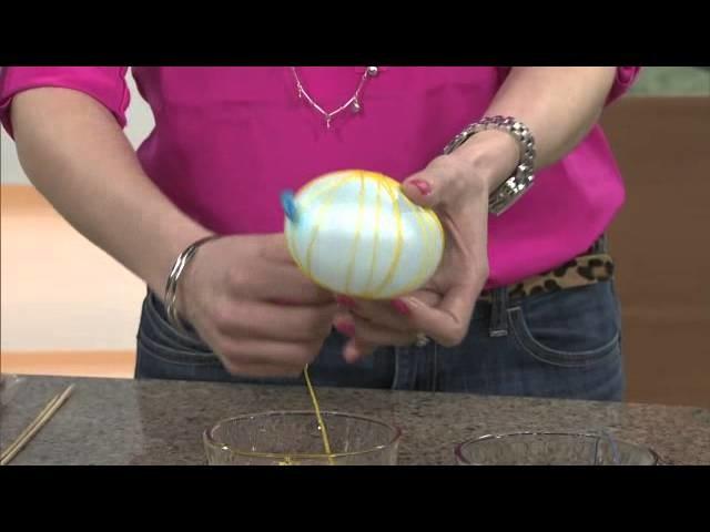 DIY string eggs and papier mache nest