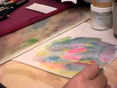 How to embelish paper for scrapbooks with watercolor pencils