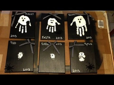 How to make a Halloween Craft - Hand Painted Ghosts - Ghostly Handprints