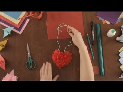 How to Make a Tissue Paper Heart Necklace : Paper Art Projects