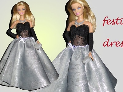 How to make BARBIE doll FESTIVE DRESS, (DIY)