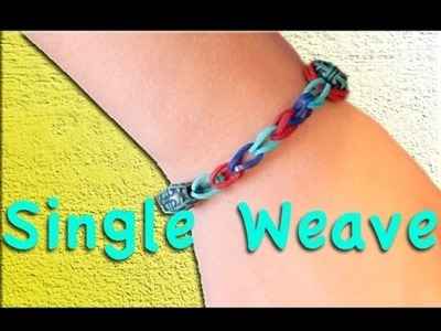 Rainbow Loom:  Single Weave Bracelet with Beads Without Using Loom